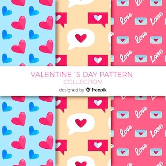 Flat valentine's day pattern collecion