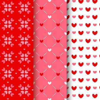 Flat valentine's day pattern collection