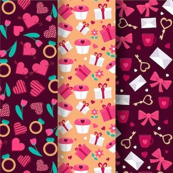 Collezione di pattern di san valentino piatto