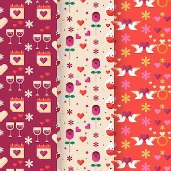 플랫 발렌타인 패턴 컬렉션