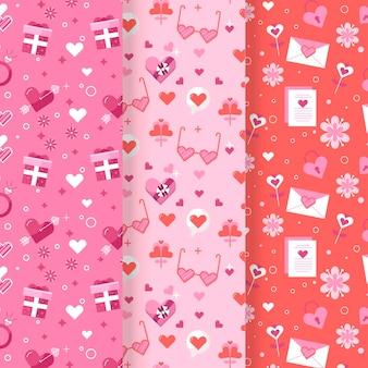 플랫 발렌타인 패턴 세트