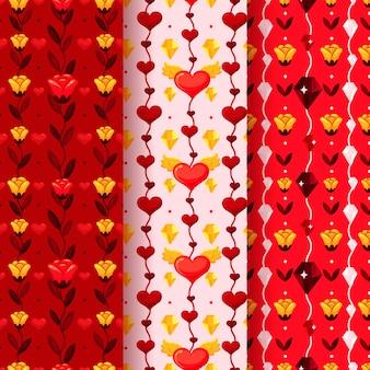 Flat valentine's day pattern set