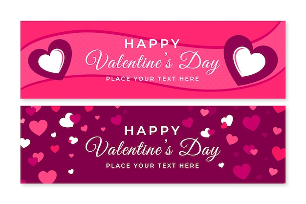 Flat valentine's day pink banners