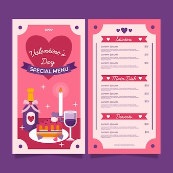 Flat valentine's day restaurant menu template with illustrations
