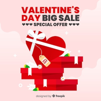 Flat valentine's day sale background