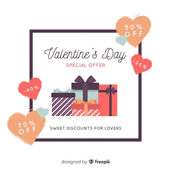 Flat valentine's day sale background