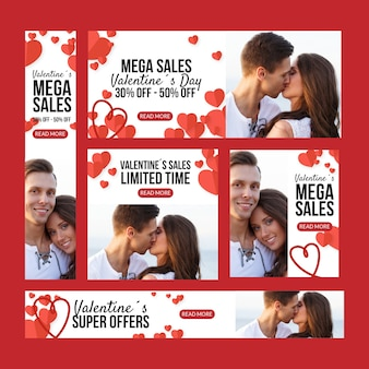Flat valentine's day sale banners with couple