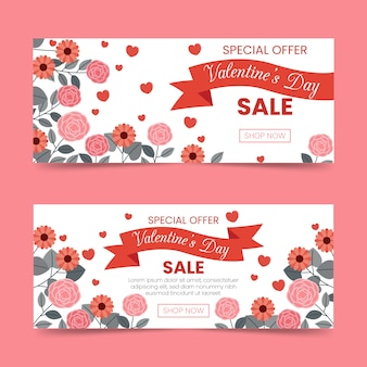 Flat valentine's day sale banners