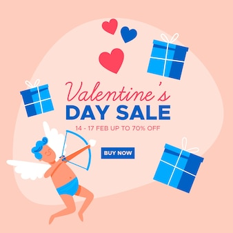 Flat valentine's day sale and cupid with gift boxes
