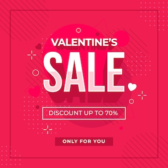 Flat valentine's day sale and memphis effect