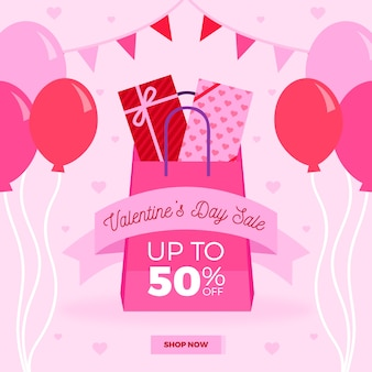 Flat valentine's day sale with balloons