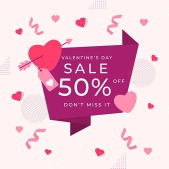 색종이와 플랫 발렌타인 데이 판매