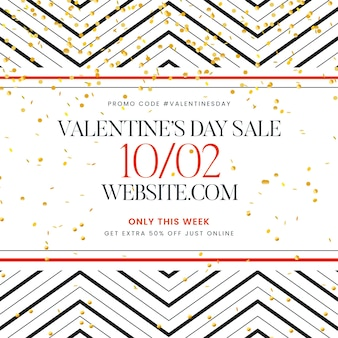 Flat valentine's day sale with golden confetti