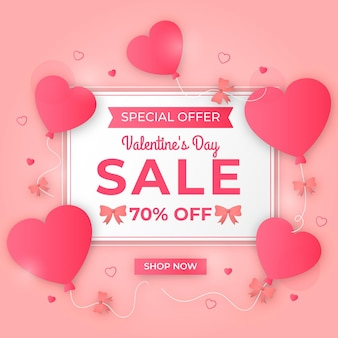 Flat valentine's day sale with heart balloons