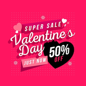 Flat valentine's day sale with hearts