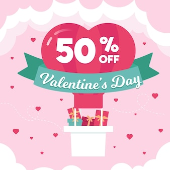 Flat valentine's day sale with hot air balloon