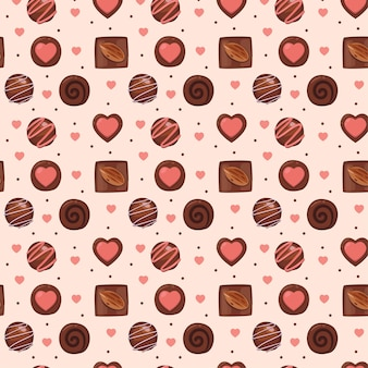 Flat valentine's day seamless pattern collection with cute illustration