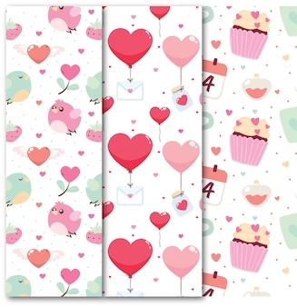 フラットバレンタインデーのシームレスなパターンコレクション