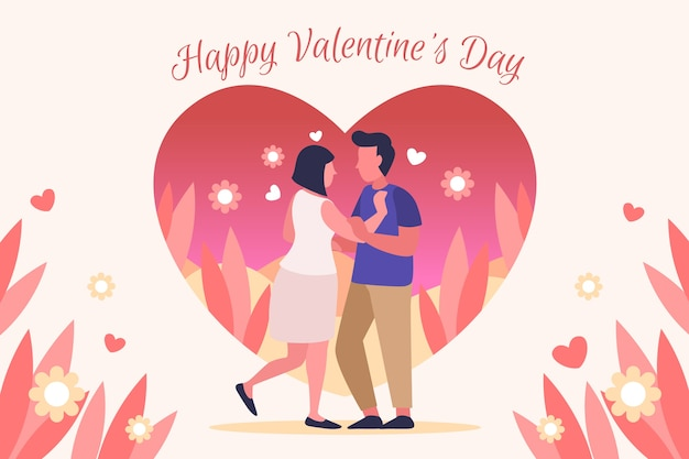 図解カップルとフラットバレンタインデーの壁紙