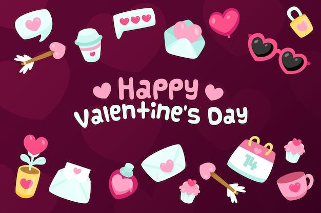 さまざまな要素を持つフラットバレンタインデーの壁紙