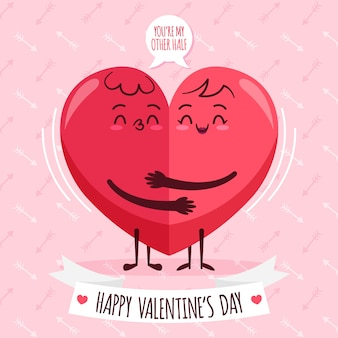 Flat valentine's day wallpaper