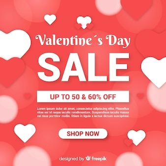 Flat valentine sale background