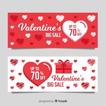 Flat valentine sale banner set