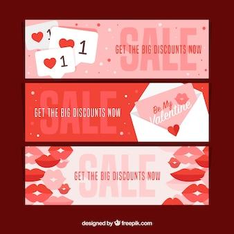 Flat valentine sale banner