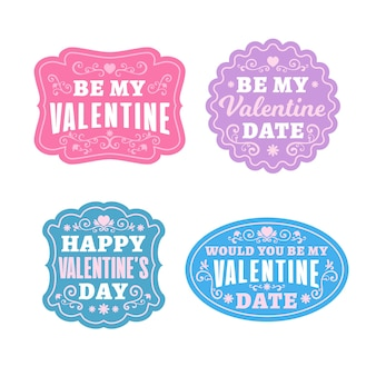 Flat valentines day badge collection