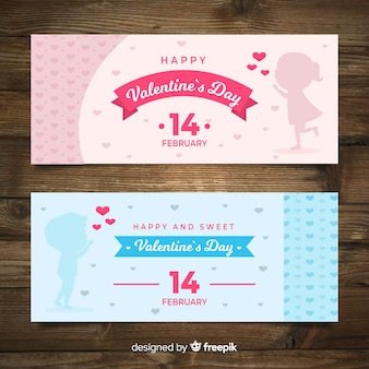 Flat valentines day banners