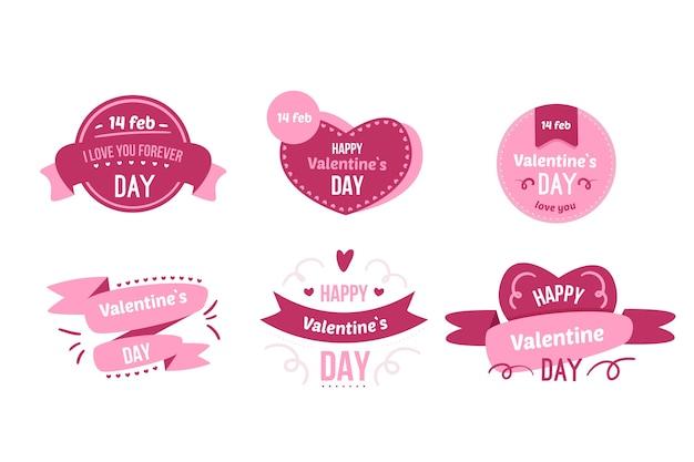 Плоская коллекция дня святого валентина этикетки