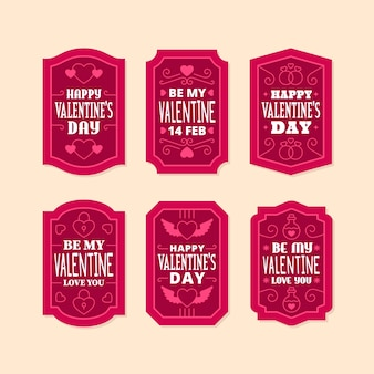 Flat valentines day label collection
