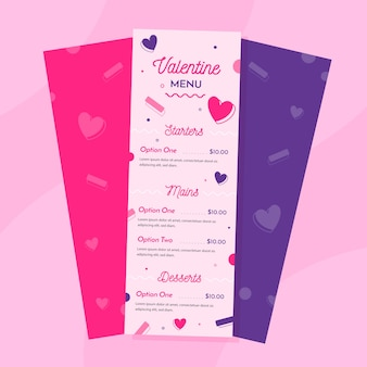 Flat valentines day menu template