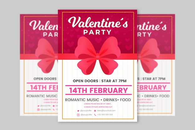 Flat valentines day party flyer template