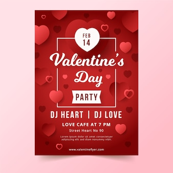 Flat valentines day party poster