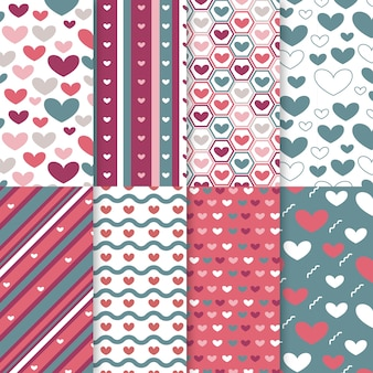 Flat valentines day pattern set