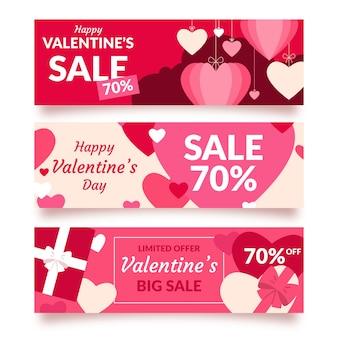 Flat valentines day sale banner concept