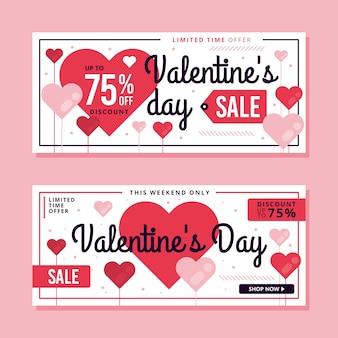 Flat valentines day sale banner