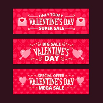 Flat valentines day sale banners