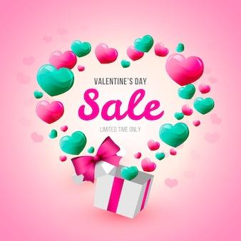 Flat valentines day sale concept design
