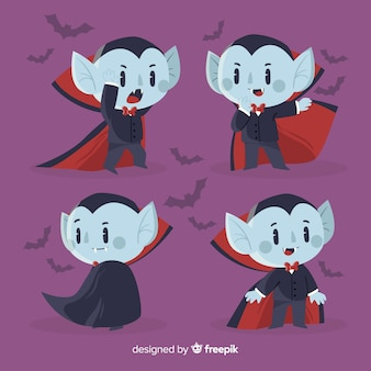 Flat vampire character and bats collection