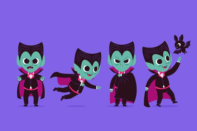 Flat vampire character collection