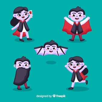 Flat vampire character with cape collection
