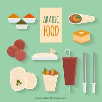 Flat variety of arabic food menus