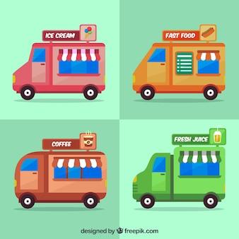 Varietà di carrelli alimentari con fast food