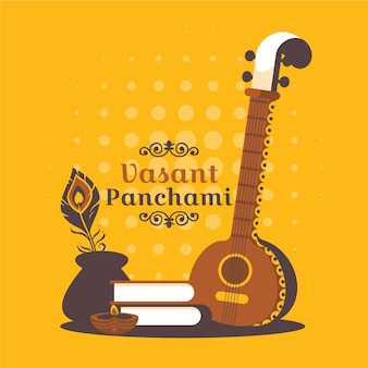 Flat vasant panchami festival illustration with instrument