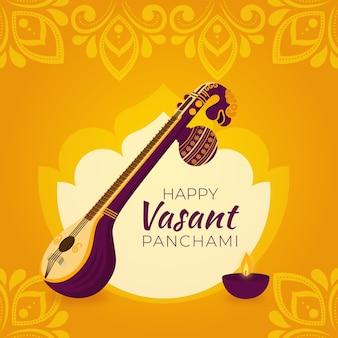 Flat vasant panchami festival illustration