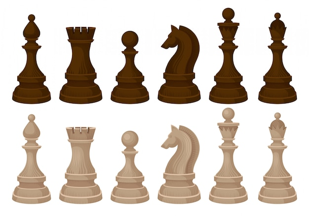 Плоские vecror набор шахматных фигур. коричневые и бежевые деревянные фигуры. стратегическая настольная игра