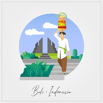 Flat vector of balinese woman