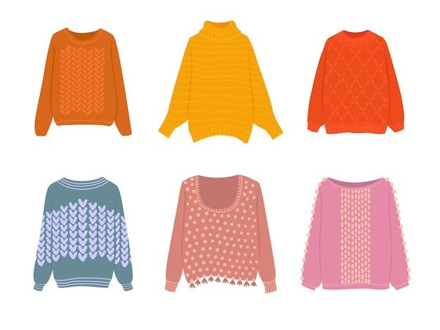 다양한 색상과 모양의 아늑한 따뜻한 스웨터의 평평한 벡터 만화 컬렉션입니다.